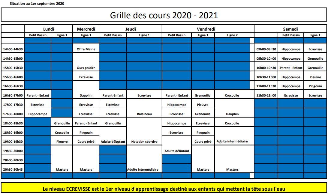 Plan des cours 2020-2021
