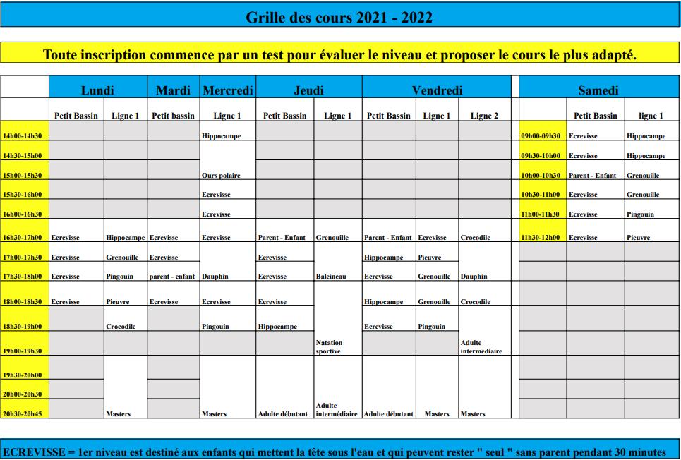 Plan des cours 2021-2022